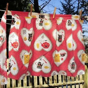 VTG Heart Colonial Print Cotton Half Hostess Apron